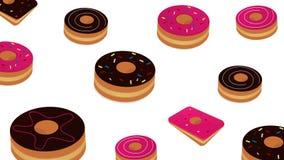 De doughnut van de beeldverhaalstijl op witte achtergrond Royalty-vrije Stock Afbeeldingen