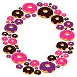 De doughnut van de beeldverhaalstijl op witte achtergrond Royalty-vrije Stock Foto's
