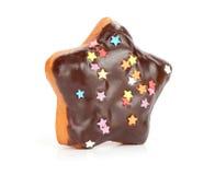 De doughnut van de chocolade met suikerglazuur stock foto