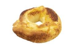 De doughnut van het kaasbovenste laagje op witte achtergrond wordt geïsoleerd die Royalty-vrije Stock Afbeelding
