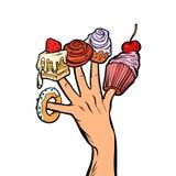 De doughnutheemst van de snoepjescake cupcake op vingers royalty-vrije illustratie
