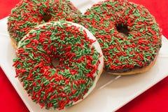 De Doughnuts van Kerstmis Royalty-vrije Stock Foto