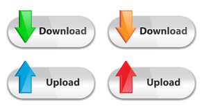 De download en uploadt pictogrammen Royalty-vrije Stock Afbeelding
