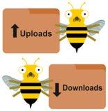 De download uploadt door bijen Royalty-vrije Stock Fotografie