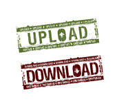 De download uploadt zegels Stock Foto