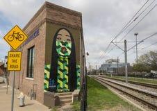 ` de doyenne de ` de 42 peintures murales par Jeanette Revote, Ellum profond, le Texas Image libre de droits