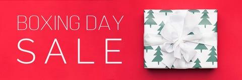De in dozen doende banner van de dagverkoop Kerstmis die, idee voor uw ontwerp winkelt royalty-vrije stock afbeeldingen