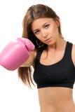 De In dozen doende Vrouw van de sport in roze dooshandschoenen Stock Fotografie