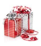 De dozen en het decor van de Kerstmisgift Stock Fotografie
