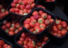 De dozen van aardbeien verkopen in de markt royalty-vrije stock afbeeldingen