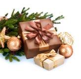 De Dozen van de Decoratie en van de Gift van Kerstmis Royalty-vrije Stock Afbeeldingen