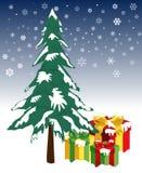 De dozen van de gift die door sneeuw worden behandeld Stock Afbeeldingen