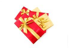 De dozen van de gift die op de witte achtergrond worden geïsoleerd Stock Afbeelding
