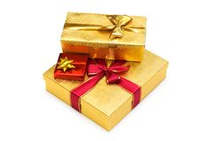 De dozen van de gift die op de witte achtergrond worden geïsoleerde Stock Fotografie