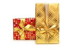 De dozen van de gift die op de witte achtergrond worden geïsoleerdl Stock Afbeelding