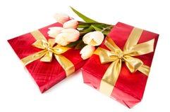 De dozen van de gift die op het wit worden geïsoleerd$ Royalty-vrije Stock Fotografie