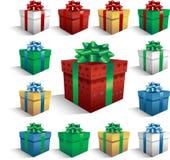 De dozen van de Gift van Kerstmis Stock Fotografie