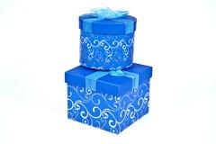 De Dozen van de Gift van Kerstmis in Blauw Stock Afbeeldingen