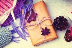 De dozen van de Kerstmisgift, hartvorm en sparappel Royalty-vrije Stock Foto's