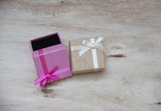 De dozen van de nieuwjaargift, Gradiëntachtergrond Royalty-vrije Stock Afbeelding