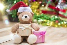 De dozen van de nieuwjaargift, Gradiëntachtergrond Stock Foto
