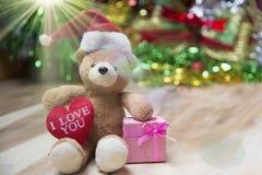 De dozen van de nieuwjaargift, Gradiëntachtergrond Stock Afbeelding