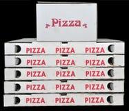 De dozen van de pizza Stock Afbeeldingen