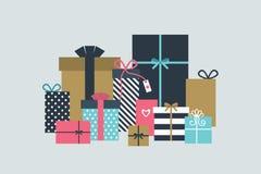 De dozen van de gift op witte achtergrond Kerstman Klaus, hemel, vorst, zak Stock Afbeeldingen