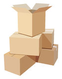 De dozen van het karton Royalty-vrije Stock Afbeeldingen