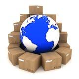 De dozen van het karton rond Aarde Royalty-vrije Stock Foto's