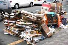 De dozen van het Karton van de stortplaats in Jagalchi straat Busan Royalty-vrije Stock Fotografie