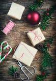 De dozen van de Kerstmisgift, voorbereiding voor de vakantie Royalty-vrije Stock Fotografie