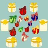 De dozen vectorbeeld van de Kerstmisgift, de achtergrond Royalty-vrije Stock Foto