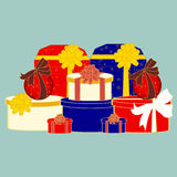 De dozen vectorbeeld van de Kerstmisgift, de achtergrond Stock Afbeeldingen