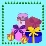 De dozen vectorbeeld van de Kerstmisgift, de achtergrond Royalty-vrije Stock Foto's