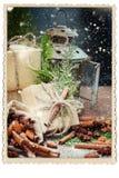 De dozen Verfraaide Groene Tak van het Linnenkoord Naald Stock Foto