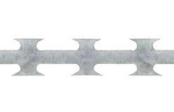 De draad naadloze macroclose-up met weerhaken van het bandscheermes, geïsoleerd grijs Royalty-vrije Stock Afbeeldingen