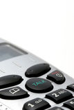 De draadloze macro van de telefoonzaktelefoon over wit stock foto's