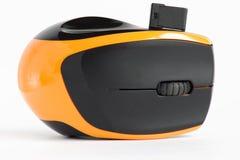 De draadloze muis van de lasercomputer op de witte achtergrond Sluit omhoog stock afbeeldingen