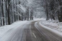 De Draaien van de de winterweg Stock Afbeelding