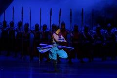 De draaiende dans van de Samoeraien 1-vier handeling ` belemmerde inklaring ` - Epische de Zijdeprinses ` van het dansdrama ` royalty-vrije stock afbeeldingen