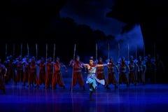 De draaiende dans van de Samoeraien 2-vier handeling ` belemmerde inklaring ` - Epische de Zijdeprinses ` van het dansdrama ` stock afbeeldingen