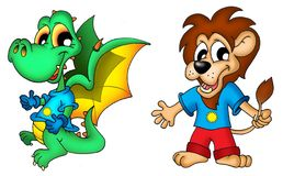 De draak en de leeuw van het beeldverhaal Stock Afbeeldingen