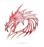 De draak en de vlammen van Azië ondertekenen rode kleur Royalty-vrije Stock Afbeeldingen