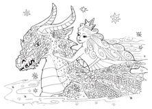 De draak en de Prinses Royalty-vrije Stock Afbeelding