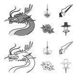 De draak met snor, de toren van Seoel, nationaal muzikaal instrument, hibiscus bloeit Vastgestelde de inzamelingspictogrammen van stock illustratie
