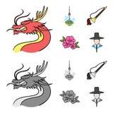 De draak met snor, de toren van Seoel, nationaal muzikaal instrument, hibiscus bloeit Vastgestelde de inzamelingspictogrammen van royalty-vrije illustratie