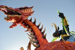 De draak van Carnaval Viareggio een stier Royalty-vrije Stock Foto