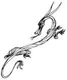 De draak van de inktlijn stock afbeeldingen