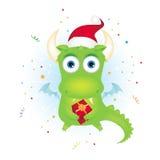 De draak van Kerstmis met een gift Royalty-vrije Stock Afbeeldingen